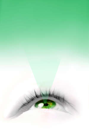 eyelids: a floating green eye illustration looking up with copy space