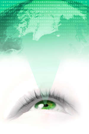 see  visionary: A floating  green eye projecting the world economy  and  number data