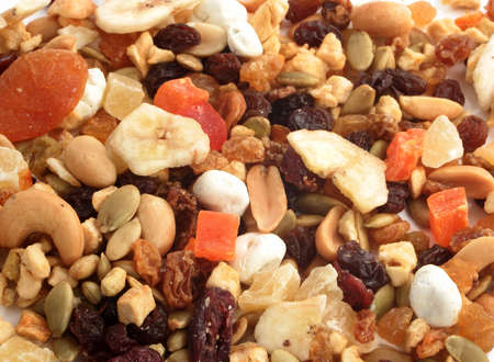 Closeup of delicious and healthy mixed dried fruit, nuts and seeds great for a background Stock Photo - 6291938