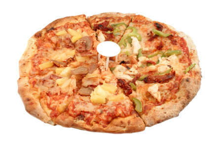 doughy: Whole round Italian pizza with different types of toppings like sausage, pineapple, green peppers, sundried tomatoes, chicken, and bacon, isolated on a white background Stock Photo