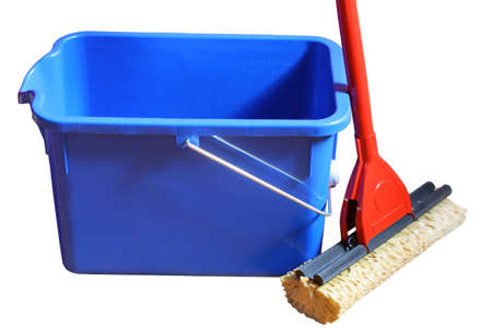 Cleaning mop and blue bucket on a white background Stock Photo - 6331478