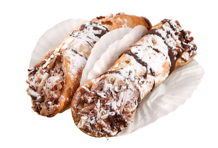 chocolaty: Delicious cream filled and chocolate drizzled European pastries isolated on a white background
