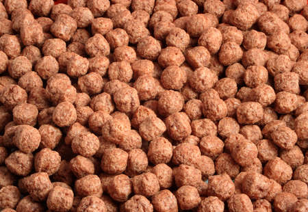 chocolaty: A closeup of delicious chocolate puff cereal bits Stock Photo