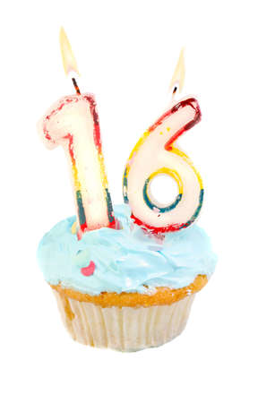 sixteenth: Sixteenth birthday cupcake with blue frosting on a white background Stock Photo