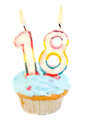 eighteen: Eighteenth birthday cupcake with blue frosting on a white background