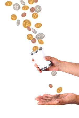 Man with dirty hands holds a tin with blank label catching dollars and cents coins falling from the air Stock Photo - 7094259