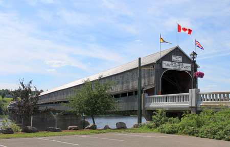 longest: The longest wooden covered bridge in the world located in Hartland, New Brunswick, Canada