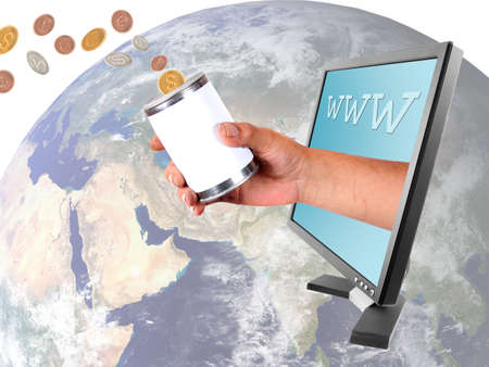 tin: Conceptual image of donating money to the world in different currencies through the internet