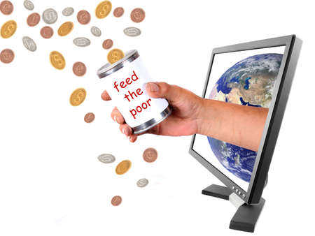 Conceptual image of donating money to the world in different currencies through the internet photo