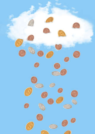 It`s raining money. Coins falling out of the sky in different global currencies photo