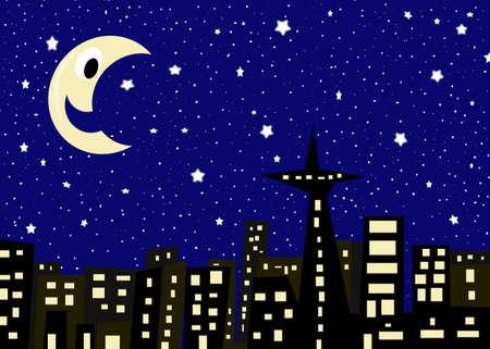 자정 푸른 하늘, 별과 웃는 달 수백 밤에 건물 ciityscape의 그림 스톡 콘텐츠