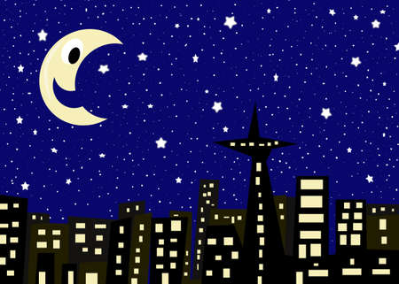 Illustration of ciityscape with buildings at night with a midnight blue sky, hundreds of stars and a smiling moon