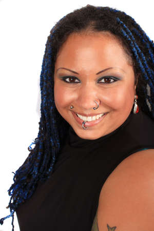Pretty overweight  pierced african american woman with braids on a white background photo