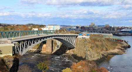 maritimes: Panoramic view of downtown Saint John, New Brunswick, Canada with the Reversing Falls and bridge in the foreground Stock Photo