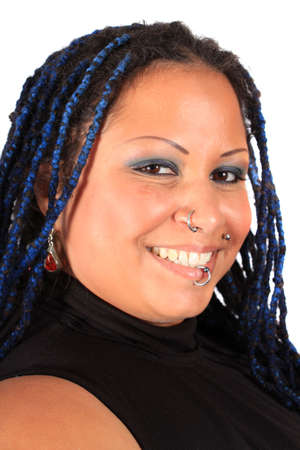 nosering: Pretty overweight  pierced african american woman with braids on a white background