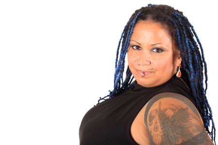 Pretty overweight  pierced african american woman with braids on a white background
