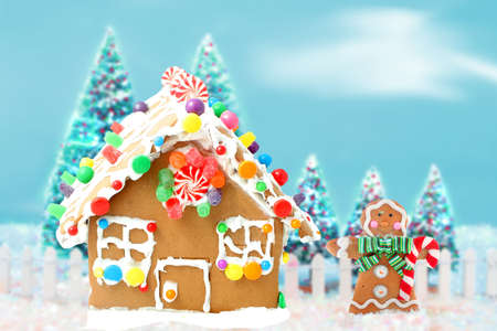 Gingerbread man cookie standing beside house  with different colored candy and gumdrops, a chrismas snow scene  photo