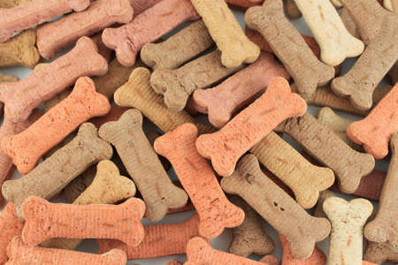 Pile of dog biscuits in the shape of a bone on a white great for a pet food background Archivio Fotografico