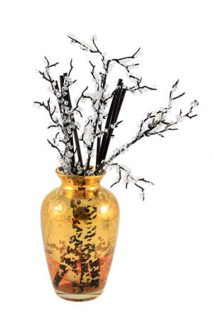 air diffuser: Oriental inspired decoration of a bamboo stick diffuser with scented oil on a white background