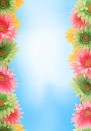 Pretty colorful gerber daisy border or  frame with spring colors on blue sky background