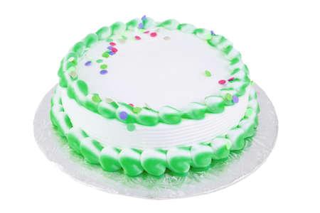 Groene en witte berijpte lege feestelijke cake groot voor om het even welke gelegenheid zoals een verjaardag of Pasen
