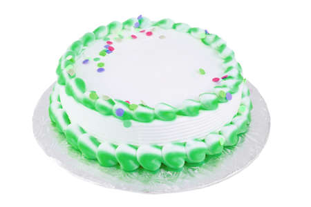 Green and white frosted blank festive cake great for any occasion like a birthday or easter