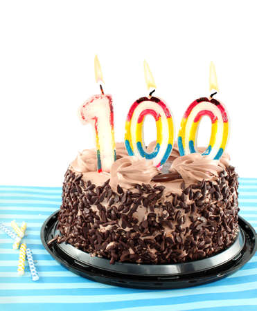 one hundred: Black Forest Chocolate cake celebrating a 100 th birthday or anniversary