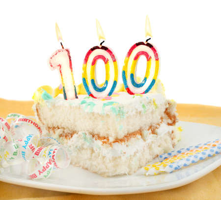 celebration: Slice of frosted festive birthday cake with candles and ribbon celebrating 100 year old birthday or anniversary Stock Photo