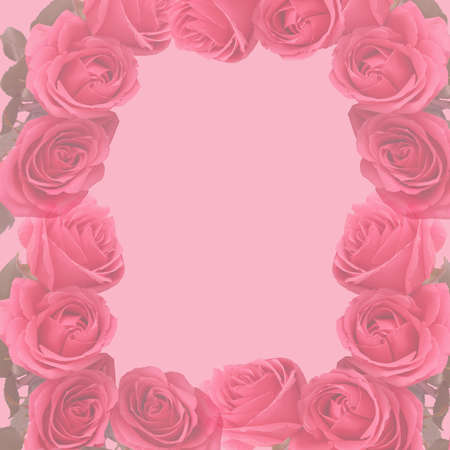 vintage background: Square formatted faded pink rose background with copyspace great for a border or background for scrapbooking
