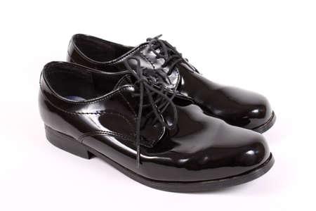 Mens shiny lace up formal black shoes Фото со стока - 9869220