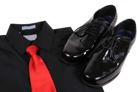 shiny black: Mens shiny lace up formal black shoes with dress up shirt and red tie