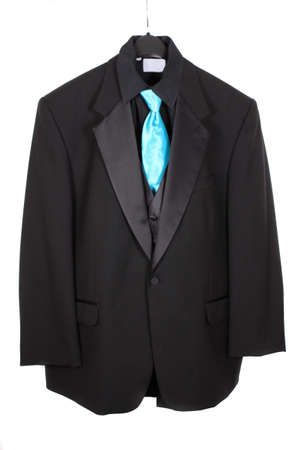 dressy: Black dressy formal three piece  suit with shirt, vest  and blue tie