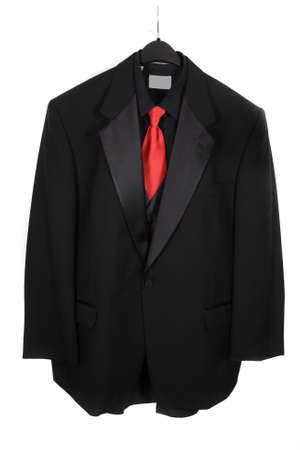 dressy: Black dressy formal three piece  suit with shirt, vest  and red tie Stock Photo