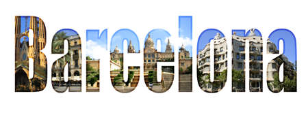 Barcelona type with different tourist sites around the city Banco de Imagens