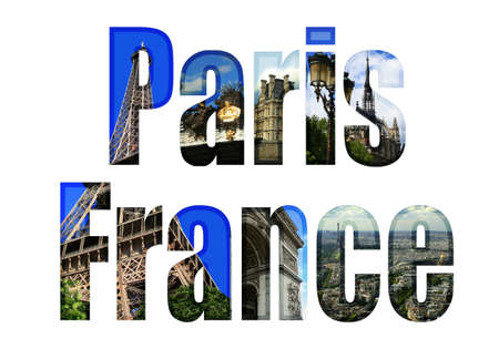 tourist attractions: Paris, France type with different tourist areas attractions Stock Photo