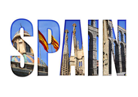 Spain type with different tourist areas attractions