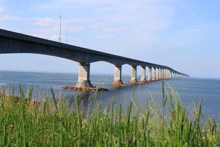 confederation: Confederation bridge connecting New Brunswick to Prince Edward Island Stock Photo