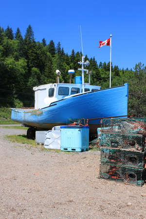 beached: Beached, fishing boat in St. Martins, on the Bay of Fundy, New Brunswick