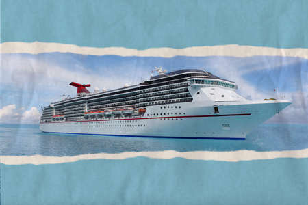caribbean cruise: Textured ripped paper postcard of cruise ship in the clear blue Caribbean ocean