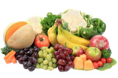 Group of colorful fruits and vegetables like grapes, apples, bananas, and cauliflower