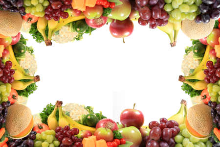 Border or frame of colorful fruits and vegetables like grapes, bananas, and cauliflower on a white background