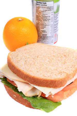 zipped: Turkey and cheese sandwich on whole wheat bread with tomato and lettuce inside a zipped bag ready for lunch and orange on the side Stock Photo