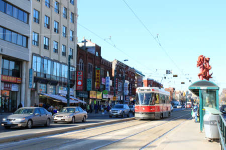TORONTO, ON, February 9: Spadina street in Chinatown showing city transportation streetcar on February, 9, 2012 in Toronto Ontario, Canada