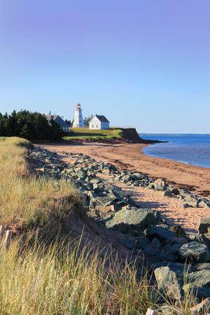 Panmure Island lighthouse in the Atlantic shore of Prince Edward Island, Canada photo