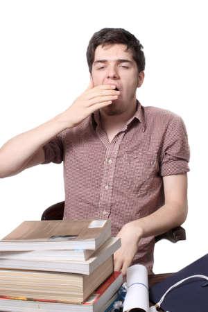 yawing: Gui�ada adolescente cansado o perezoso como despertar del sue�o, aislado en un fondo blanco