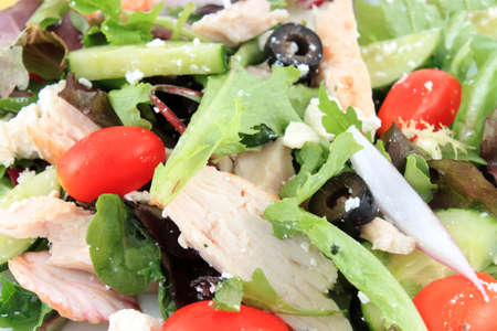 Close up of of fresh Greek Salad with chicken and feta cheese Imagens
