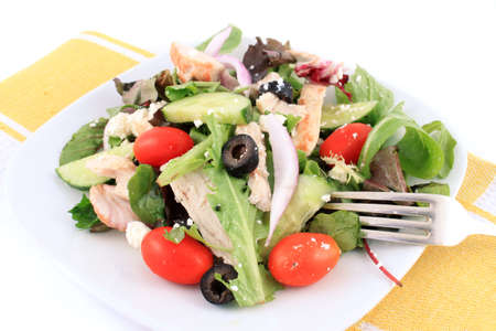 Greek Salad with fresh vegetables, chicken and feta cheese on white plate Imagens