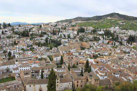 Cluster of houses along the hillside in the Albaicin area of Granada, Spain