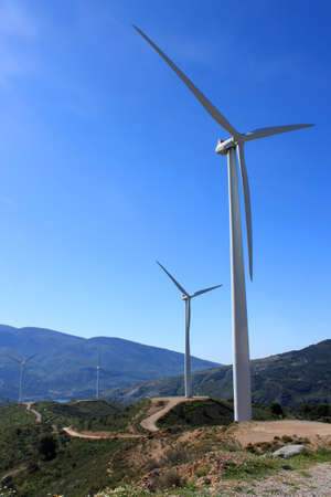 Wind turbines along the Sierra Nevada in Andalusia, Spain
