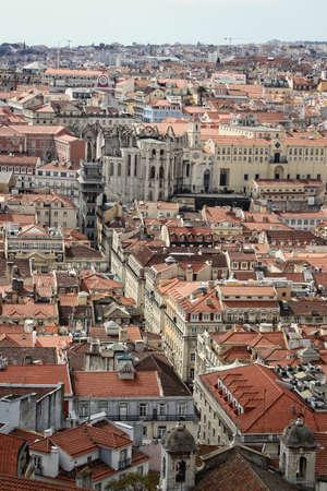 bairro: Cluster of buildings of Lisbon city showing Bairro Alto, Portugal